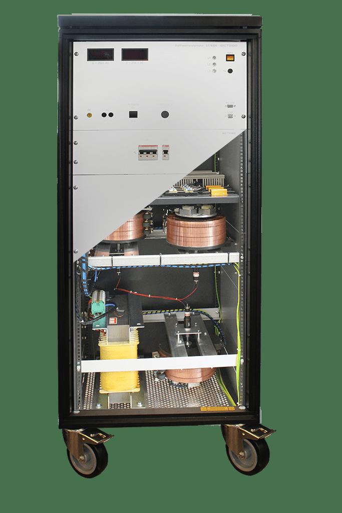 Stelltransformator mit Blick ins Innere