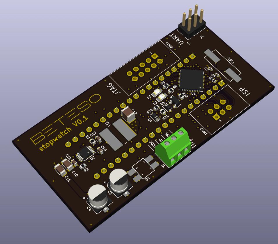 Impressionen Board Stoppuhr aus KiCad