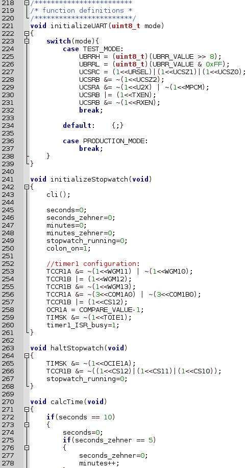 Screenshot Code Stoppuhr mit Digitalanzeige