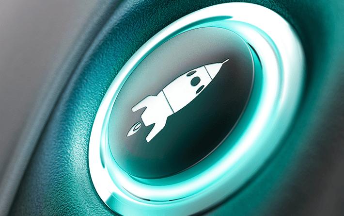Imagebild Druckknopf mit Rakete