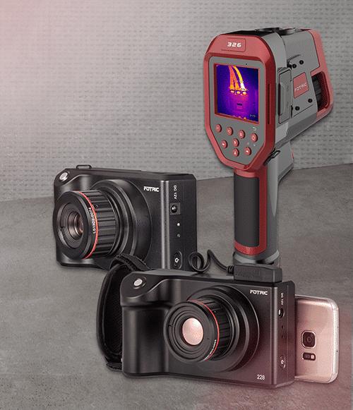 Übersicht FOTRIC Produkte: Wärmebildkameras FOTRIC 225, FOTRIC 228 und FOTRIC 3226